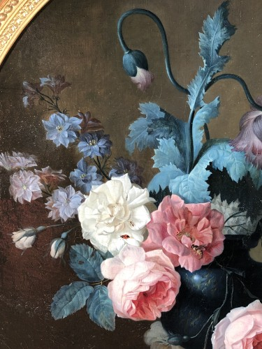 Antiquités - Still life with a bouquet of flowers and insects circa 1820