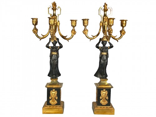 Pair of ormolu candélabra , Empire period circa 1810