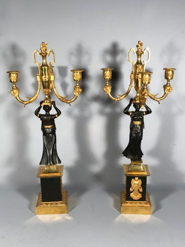 Antiquités - Pair of ormolu candélabra , Empire period circa 1810