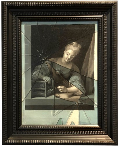 Optical illusion the broken glass, G.Gresly circa 1730