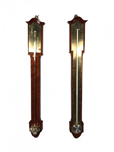Pair of Thermometer / Barometer in mahogany, Empire period.