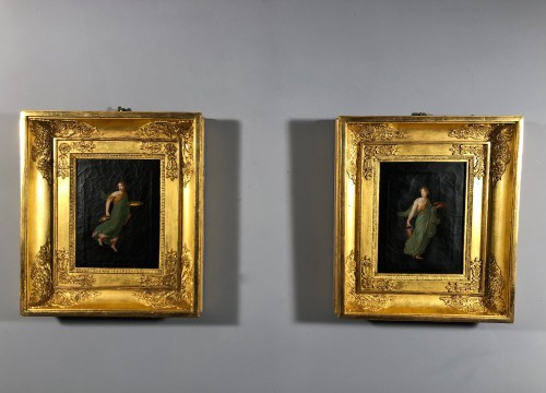 Paintings & Drawings  - Pair of paintings after the frescoes of Pompeii, Empire period