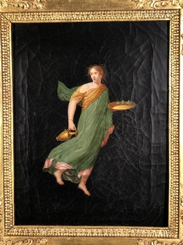Pair of paintings after the frescoes of Pompeii, Empire period -
