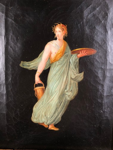 19th century - Pair of paintings after the frescoes of Pompeii, Empire period