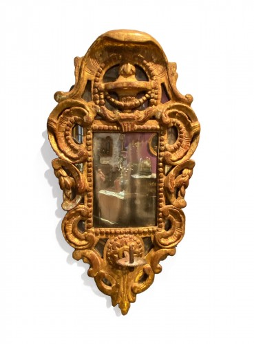 French fine candle reflector mirror, Provence circa 1750
