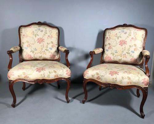Antiquités - Fine pair of french armchairs stamped Pére Gourdin, Paris circa 1750
