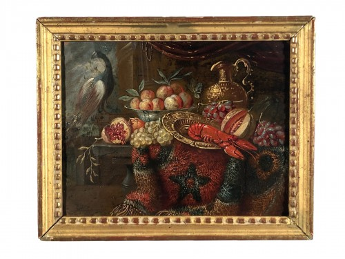 Still life with lobster, oil on copper, Holland 17th