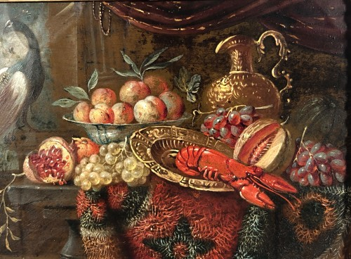 Still life with lobster, oil on copper, Holland 17th - Paintings & Drawings Style Louis XIII