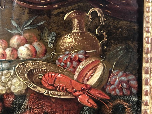 Paintings & Drawings  - Still life with lobster, oil on copper, Holland 17th