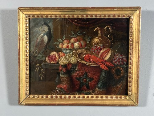 Still life with lobster, oil on copper, Holland 17th - Louis XIII