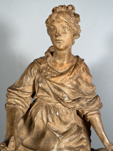Diane chasseresse, terracotta, French school late 18th - Sculpture Style Louis XIV