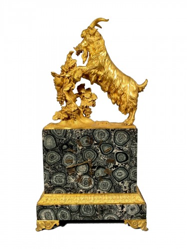 French clock in rare stone symbolizing Corsica, empire period 1815