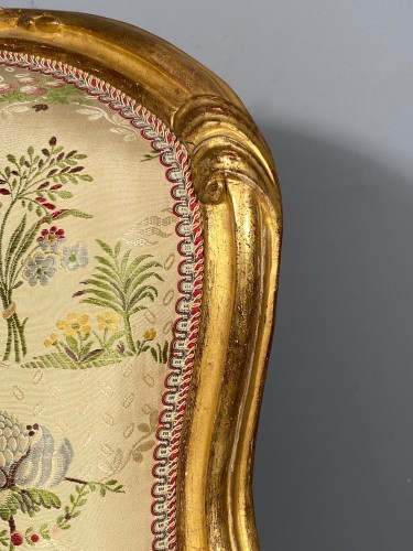 Antiquités - French fine pair of armchairs stamped BARA, Louis XV period circa 1750