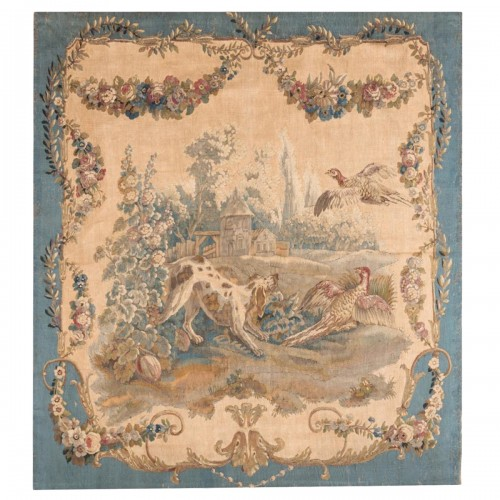 French  Louis XVI aubusson tapestry the hunting, circa 1780