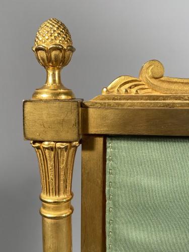 Furniture  - Fireplace screen in gilded bronze, Paris Empire period.