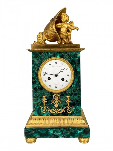Thomire Empire Clock in Malachite, Paris circa 1815