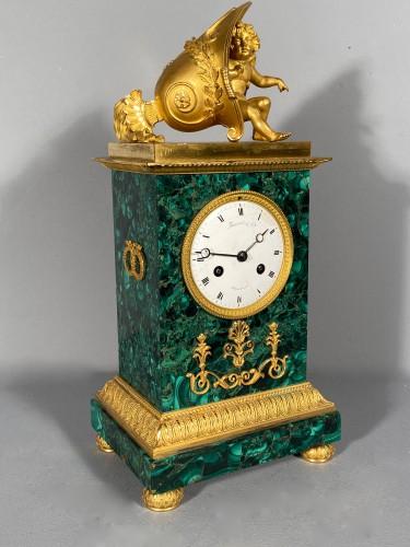 Thomire Empire Clock in Malachite, Paris circa 1815 -