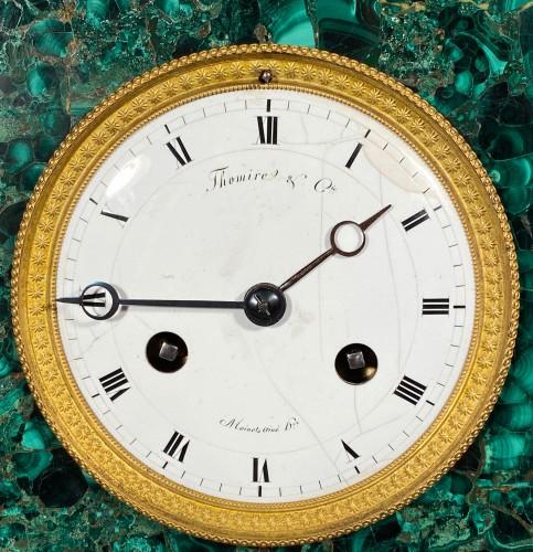 Thomire Empire Clock in Malachite, Paris circa 1815 - Empire