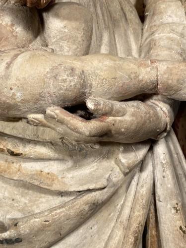 <= 16th century - Madonna and Child in Stone, Champagne circa 1520