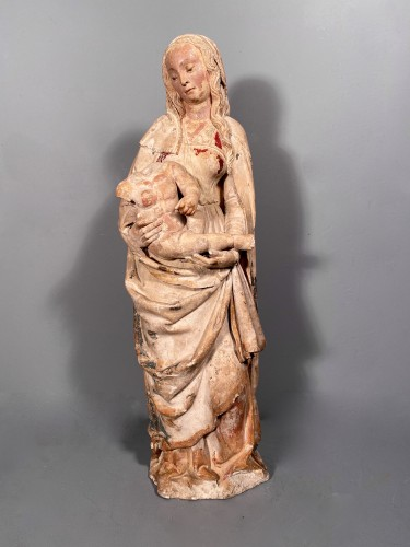 Antiquités - Madonna and Child in Stone, Champagne circa 1520