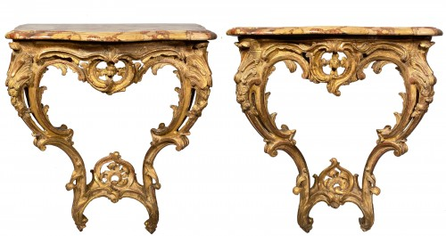 Rare pair of consoles in gilded oak, Paris Louis XV period  circa 1750