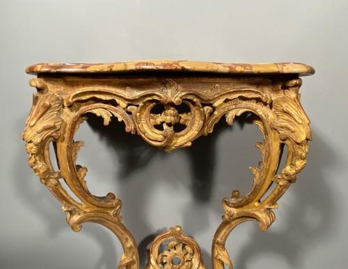 Rare pair of consoles in gilded oak, Paris Louis XV period  circa 1750 -