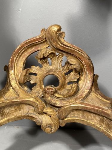 18th century - Rare pair of consoles in gilded oak, Paris Louis XV period  circa 1750