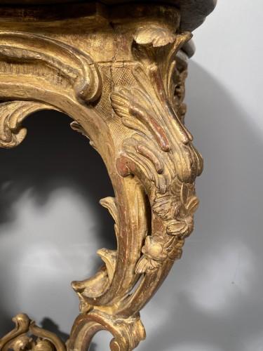 Antiquités - Rare pair of consoles in gilded oak, Paris Louis XV period  circa 1750
