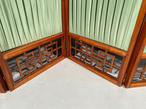 Antiquités - Chinese style screen in rosewood, stamped Cramer, Paris circa 1775