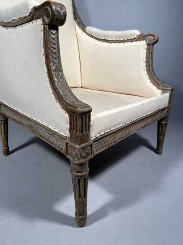 Large Bergère armchair stamped J.B BOULARD, Paris  louis XVI circa 1780 - Seating Style Louis XVI