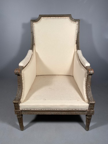 Antiquités - Large Bergère armchair stamped J.B BOULARD, Paris  louis XVI circa 1780