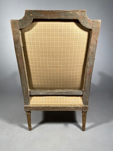 Antiquités - Large Bergère armchair stamped J.B BOULARD, Paris  louis XVI circa 1780