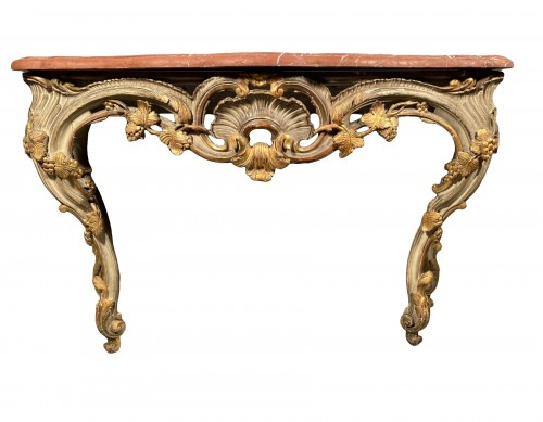 Console table in gilded wood, Provence Louis XV circa 1760