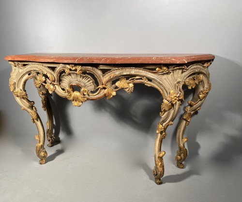 Console table in gilded wood, Provence Louis XV circa 1760 - Furniture Style Louis XV