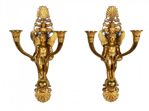 Pair of ormolu sconces, Paris Empire period circa 1810