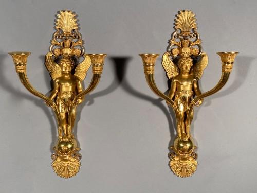 Antiquités - Pair of ormolu sconces, Paris Empire period circa 1810