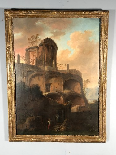 The temple of Vesta in Tivoli, Italian school 18th  - Paintings & Drawings Style Louis XV