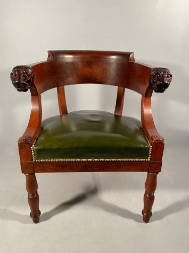 Mahogany office armchair attributed to Jacob, Empire period - Seating Style Empire