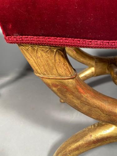 Seating  - Pair of curule stools in golden wood, Paris Empire period