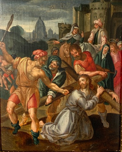 Christ falls under the weight of his cross, Flemish school circa1580. - Paintings & Drawings Style Renaissance