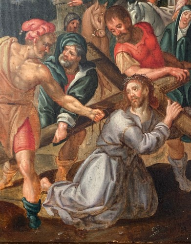 Paintings & Drawings  - Christ falls under the weight of his cross, Flemish school circa1580.