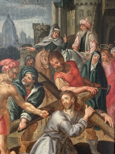 Christ falls under the weight of his cross, Flemish school circa1580. -