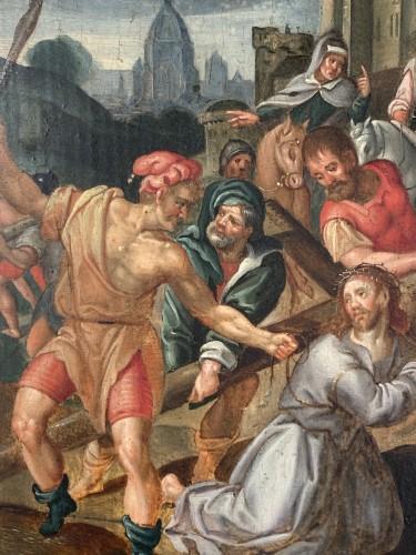 <= 16th century - Christ falls under the weight of his cross, Flemish school circa1580.
