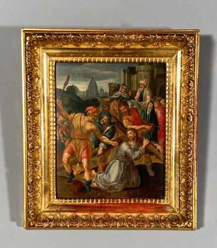 Christ falls under the weight of his cross, Flemish school circa1580. - Renaissance