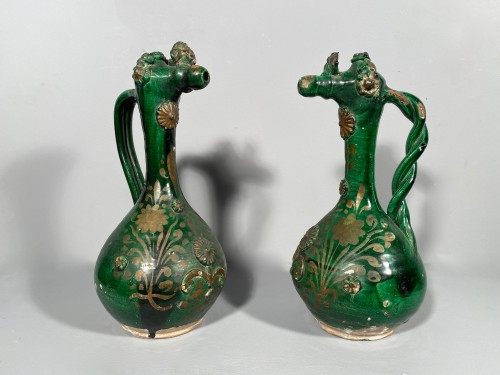 Pair of tall Demoiselle  d'Avignon circa 1840 - Porcelain & Faience Style Louis-Philippe