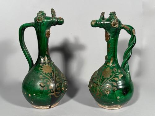 Porcelain & Faience  - Pair of tall Demoiselle  d'Avignon circa 1840