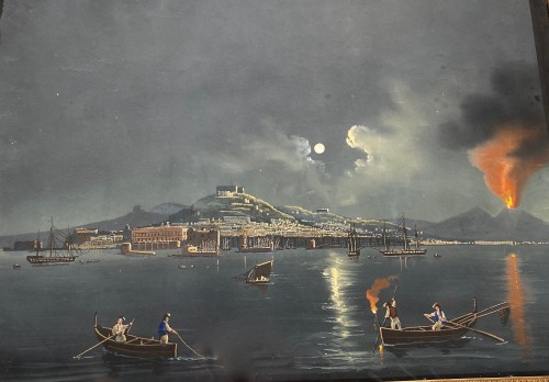 Moonlight over the Bay of Naples, Gouache circa1820 - Paintings & Drawings Style Restauration - Charles X