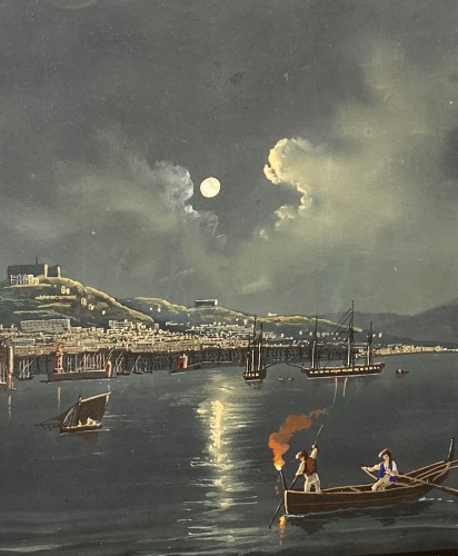 Paintings & Drawings  - Moonlight over the Bay of Naples, Gouache circa1820