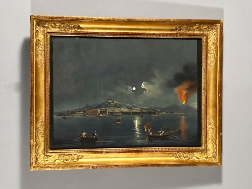 19th century - Moonlight over the Bay of Naples, Gouache circa1820
