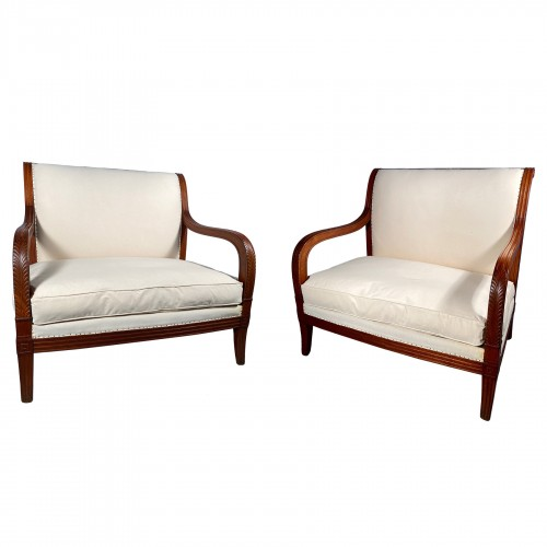 Pair of mahogany sofas by Jacob Desmalter, Paris Empire period